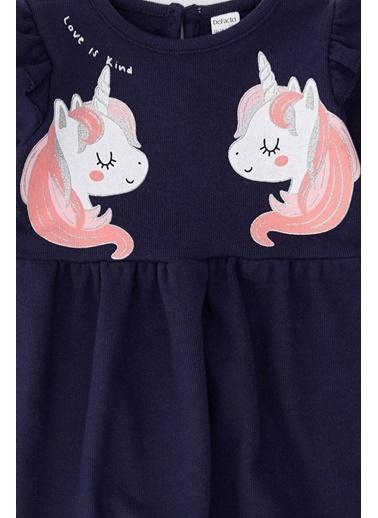 DeFacto Kız Bebek Unicorn Baskılı Selanik Kumaş Elbise Lacivert